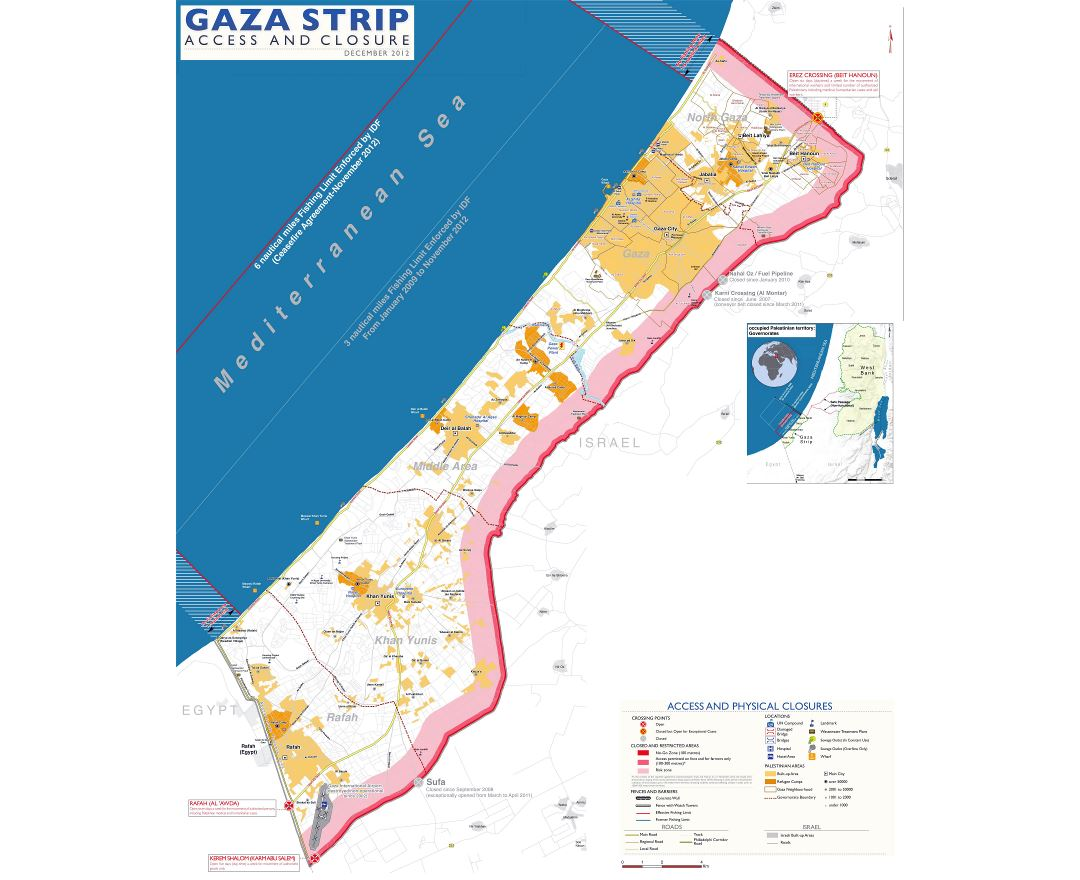 Large scale map of Gaza Strip with roads and cities - 2012
