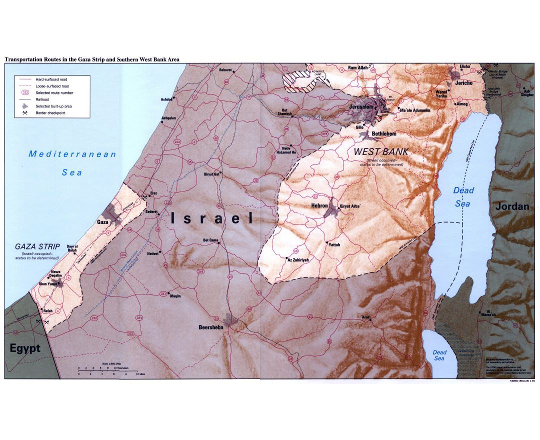 Large transportation routes in Gaza Strip and Southern West Bank Area map with relief - 1994