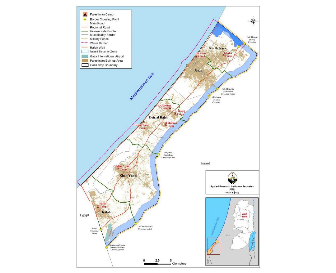 Map of Gaza Strip with other marks