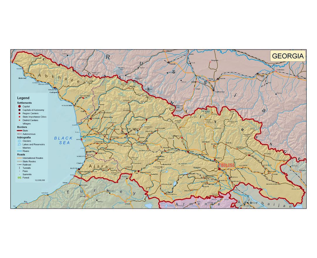 Detailed political map of Georgia with relief, roads, cities and other marks