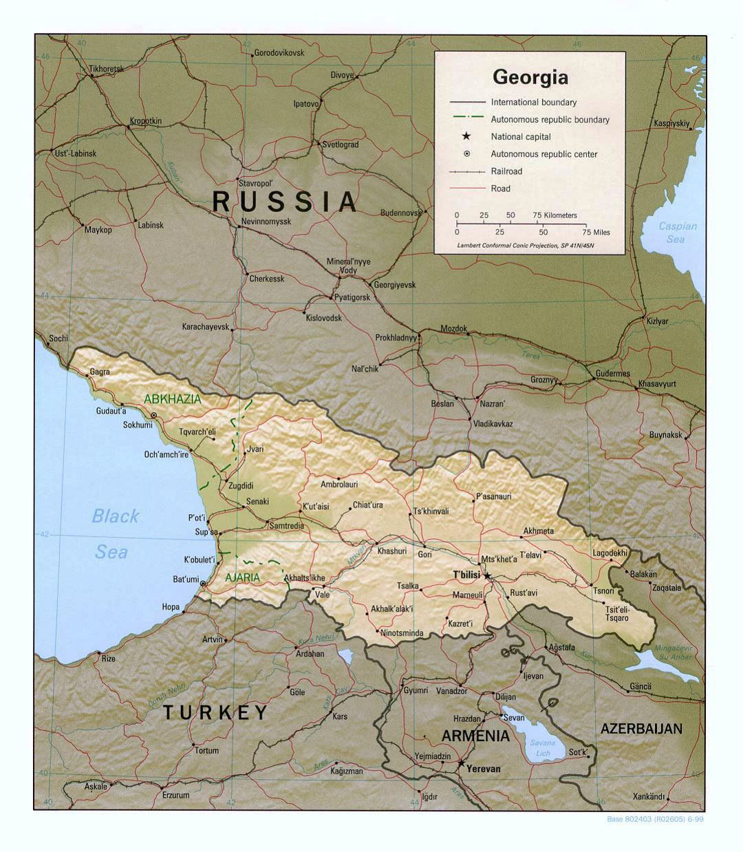 Detailed political map of Georgia with relief, roads, railroads and major cities - 1999