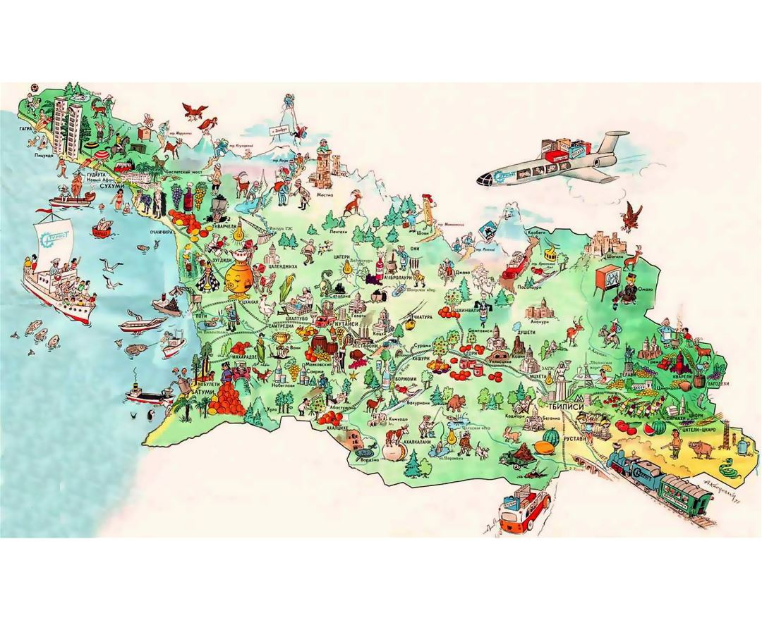 Detailed tourist illustrated map of Georgia