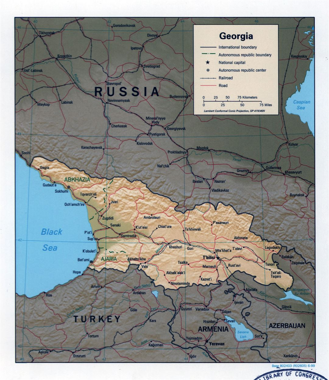 Large detailed political map of Georgia with relief, roads, railroads and major cities - 1999