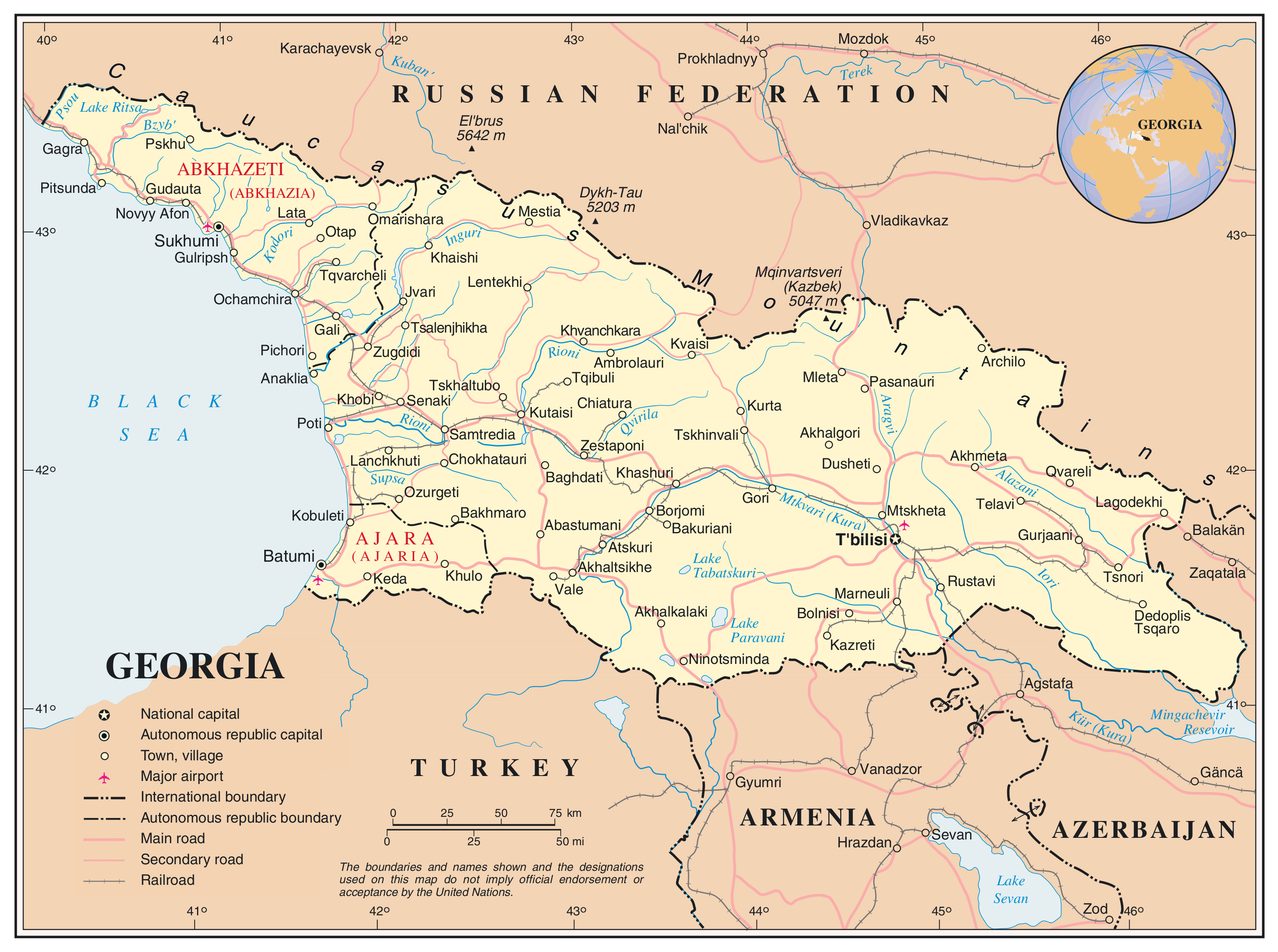 Large Detailed Political Map Of Georgia With Roads Railroads - Nalchik map