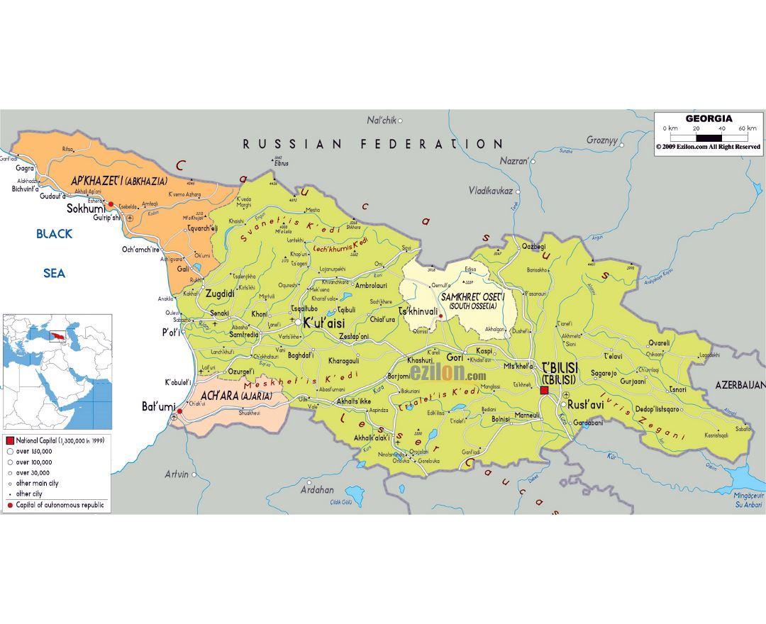 Maps of Georgia Detailed map of Georgia in English Tourist map