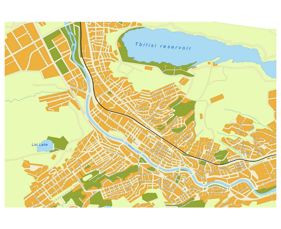 Detailed road map of Tbilisi city