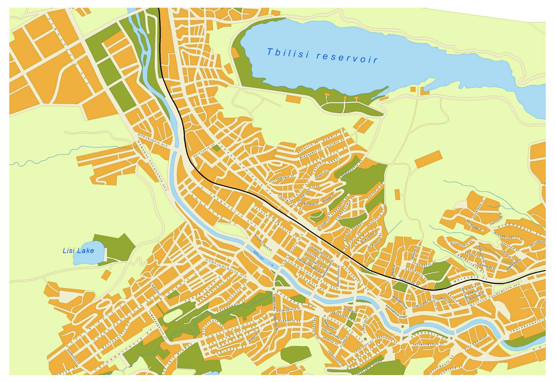 Detailed Road Map Of Tbilisi City Tbilisi Georgia Asia - Road map georgia