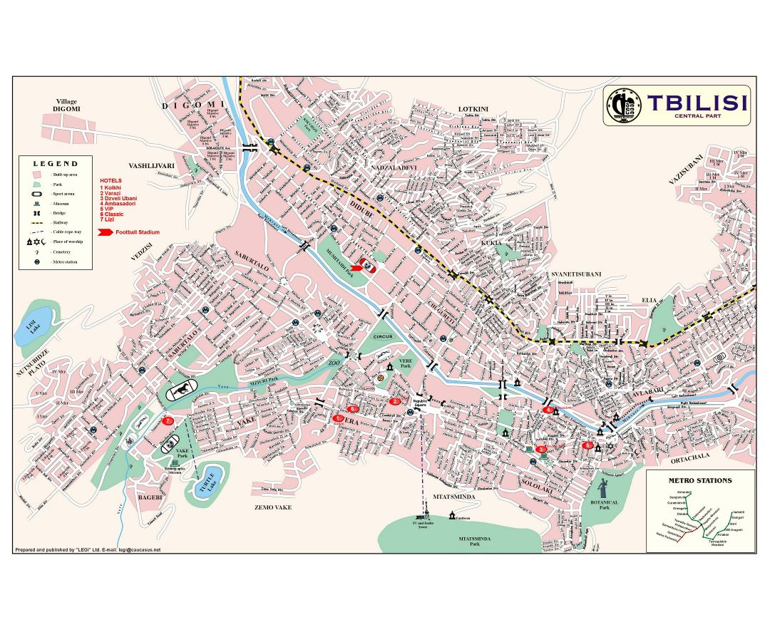 Large detailed map of Tbilisi city central part with street names