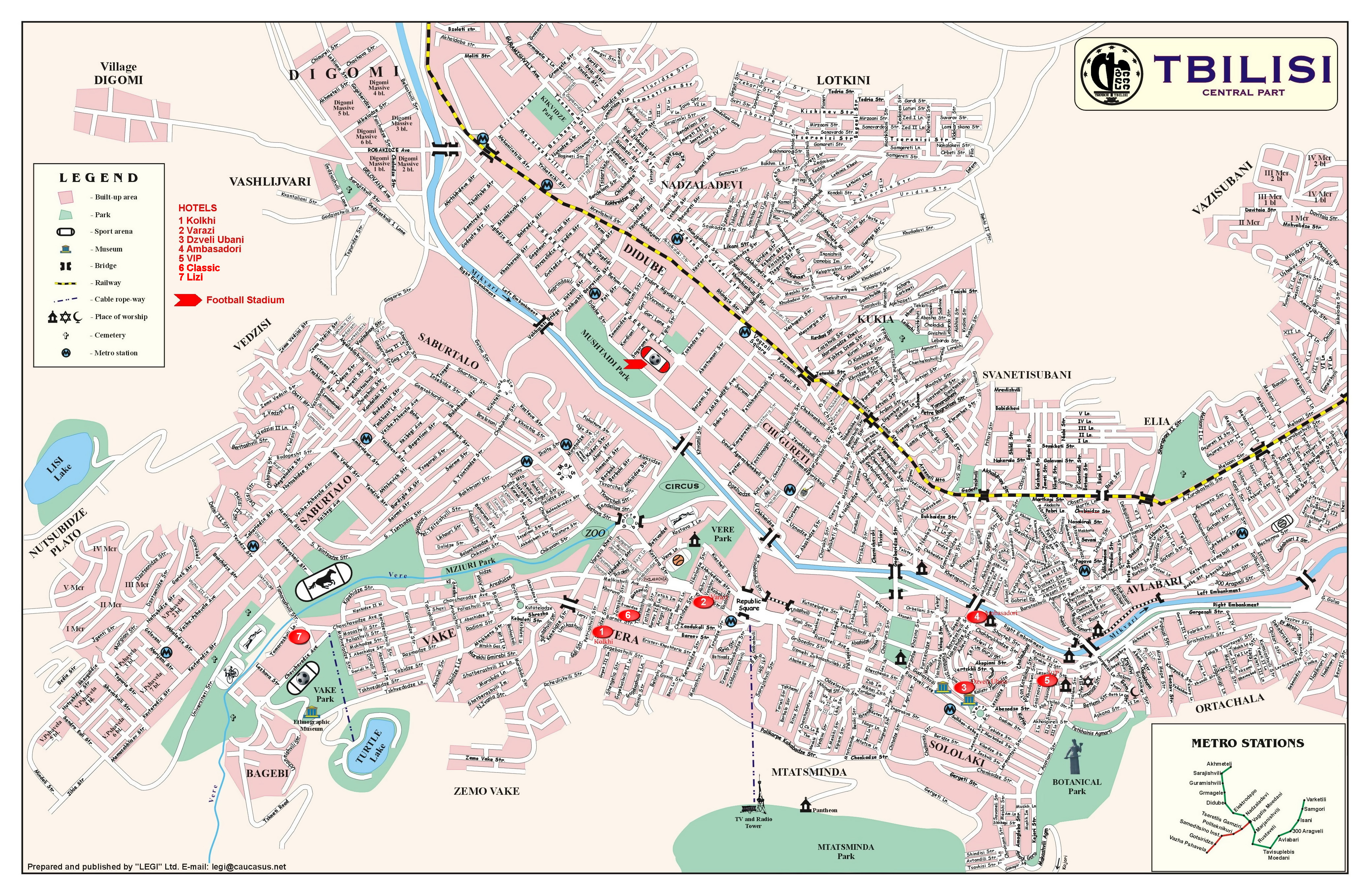 Large detailed map of Tbilisi city central part with street names ...