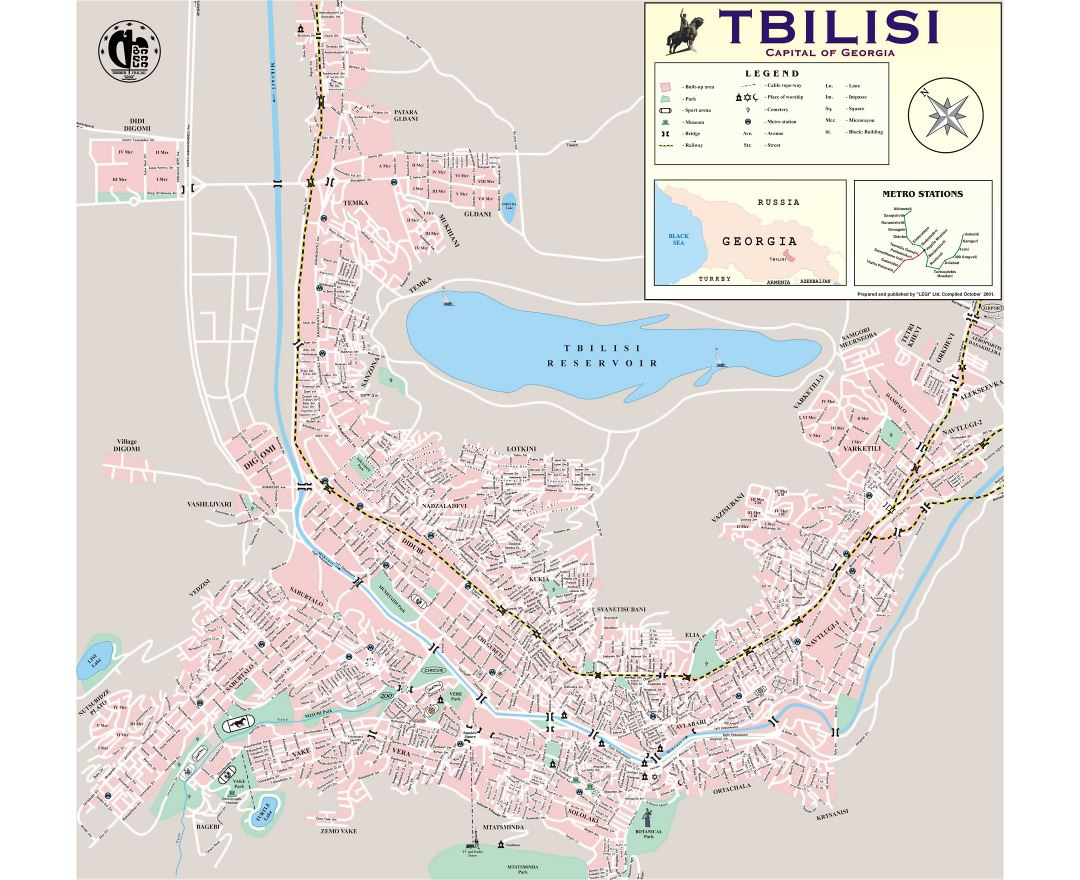 Maps Of Tbilisi Detailed Map Of Tbilisi In English And Russian - Georgia map english