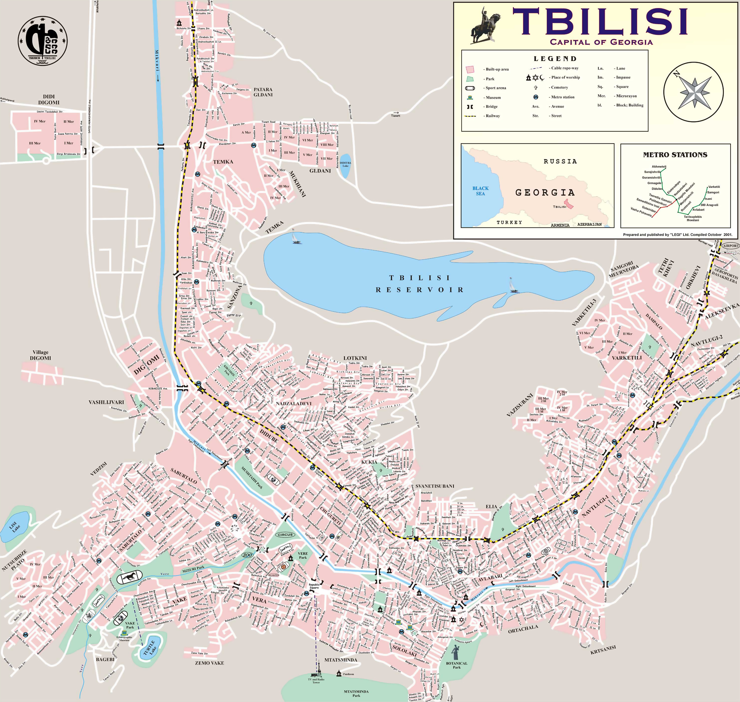 Large detailed map of Tbilisi city with street names | Tbilisi ...