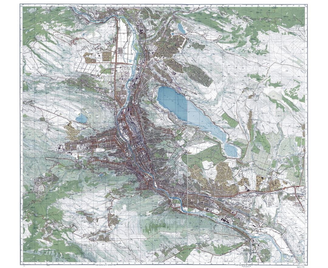 Large detailed topographical map of Tbilisi city