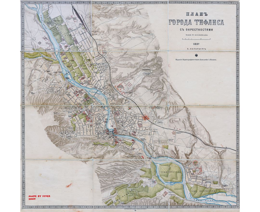Large scale old map of Tbilisi city - 1887