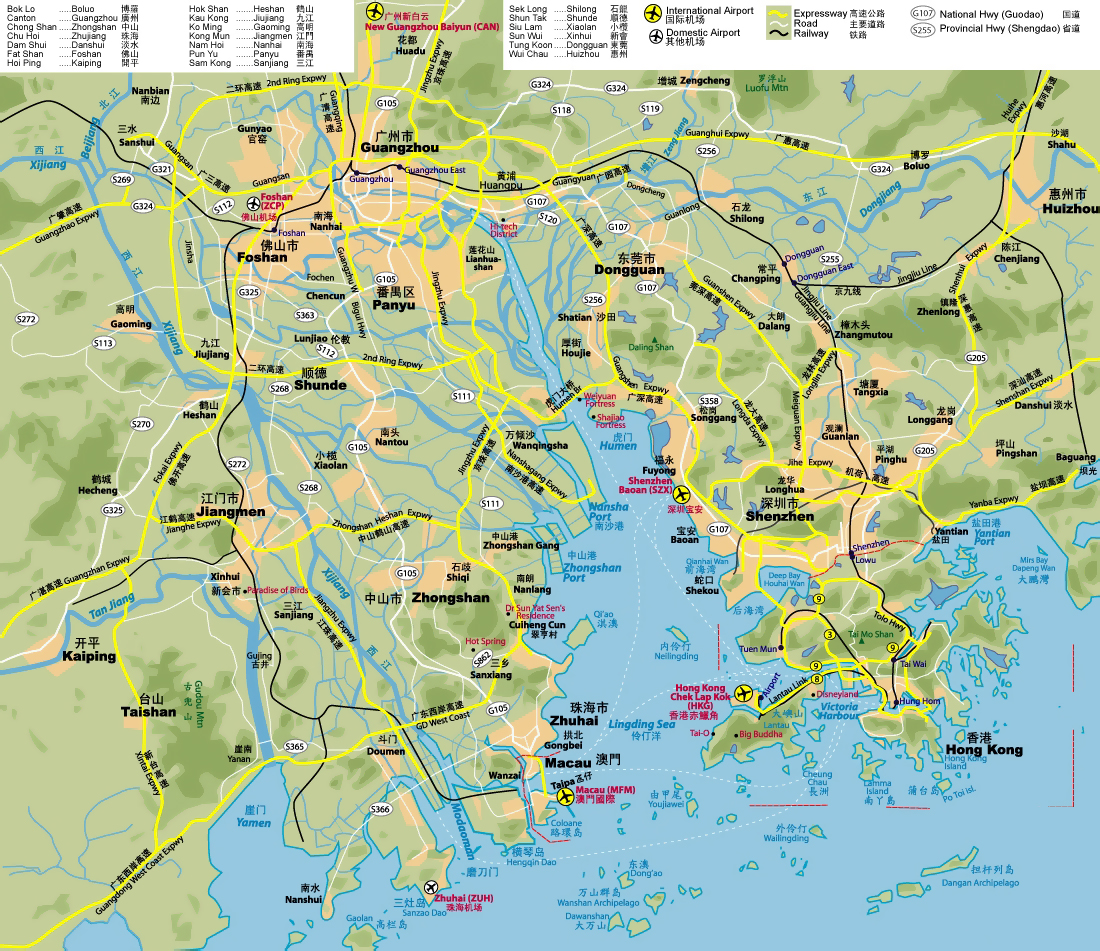 Detailde highways map of Hong Kong, Shenzhen, Guangzhou ...