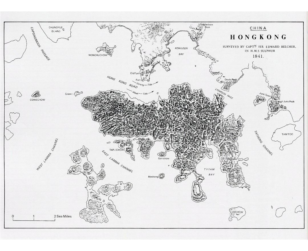 Detailed old map of Hong Kong Island with relief - 1841