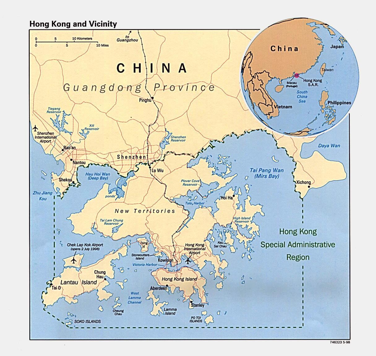 Detailed political map of hong kong 1998 hong kong asia detailed political map of hong kong 1998 gumiabroncs Choice Image