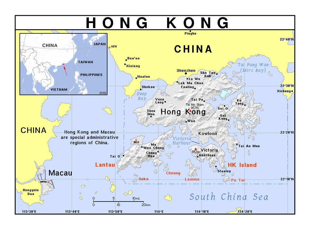 Detailed political map of Hong Kong with relief | Hong Kong | Asia ...