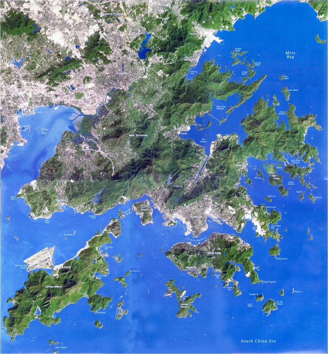 Detailed satellite map of Hong Kong