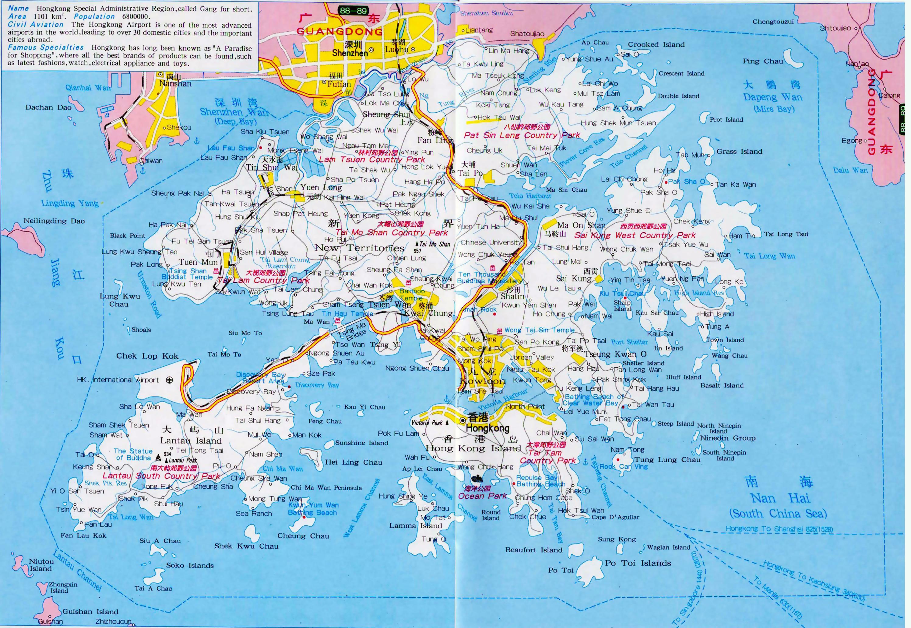 Map Of Asia Hong Kong.Large Detailed Road Map Of Hong Kong Hong Kong Asia Mapsland