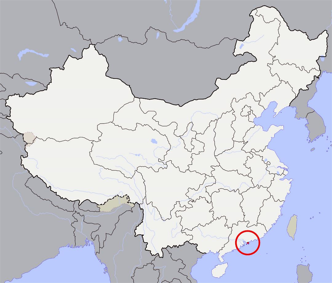 Large location map of Hong Kong