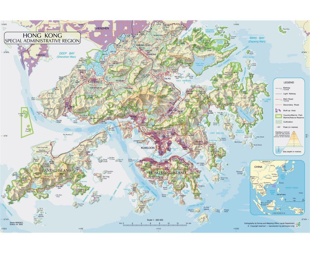 Large physical map of Hong Kong with roads, railroads, relief and parks