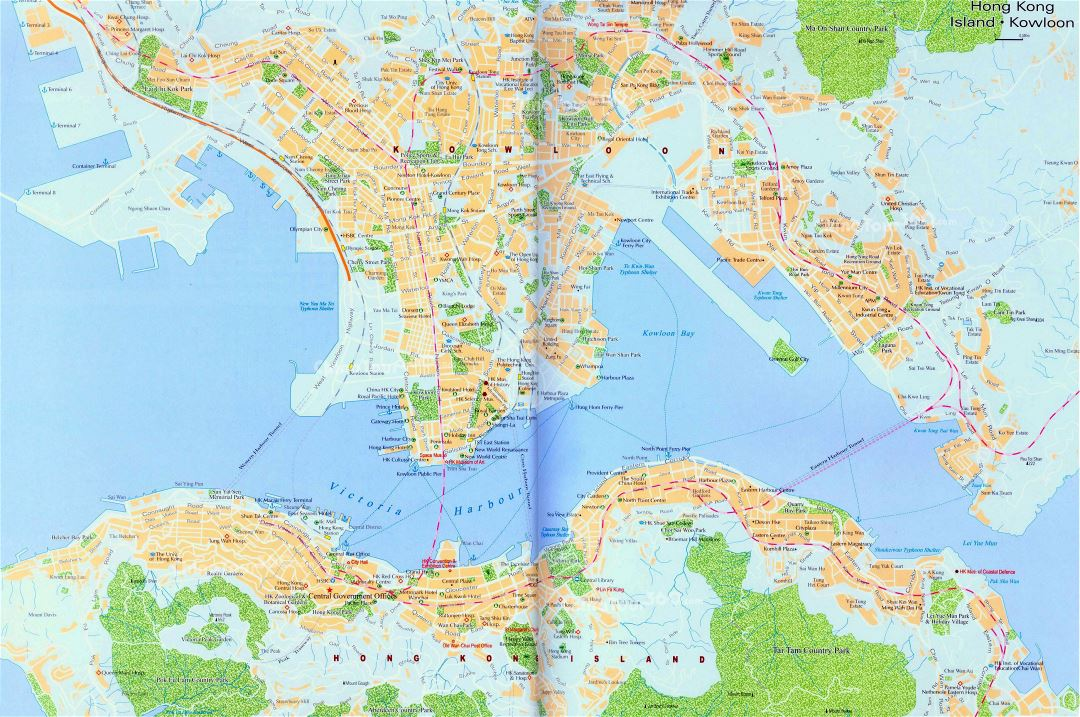 Large road map of Hong Kong city