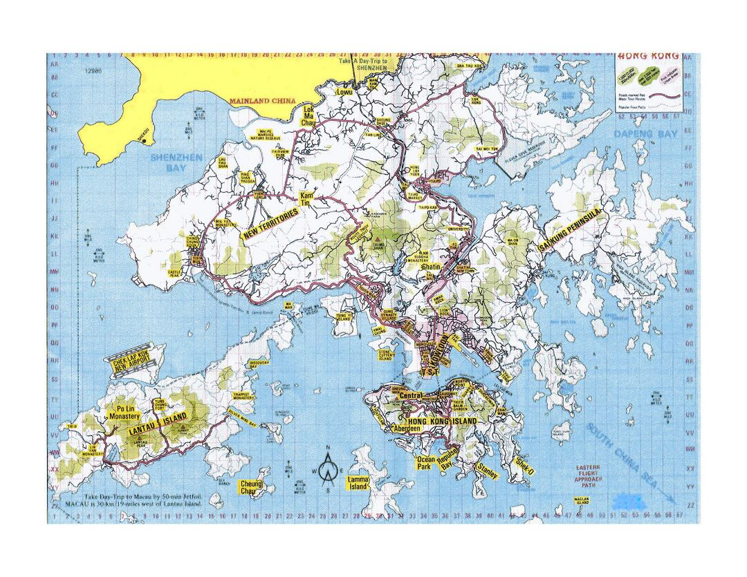 Large topographical map of Hong Kong