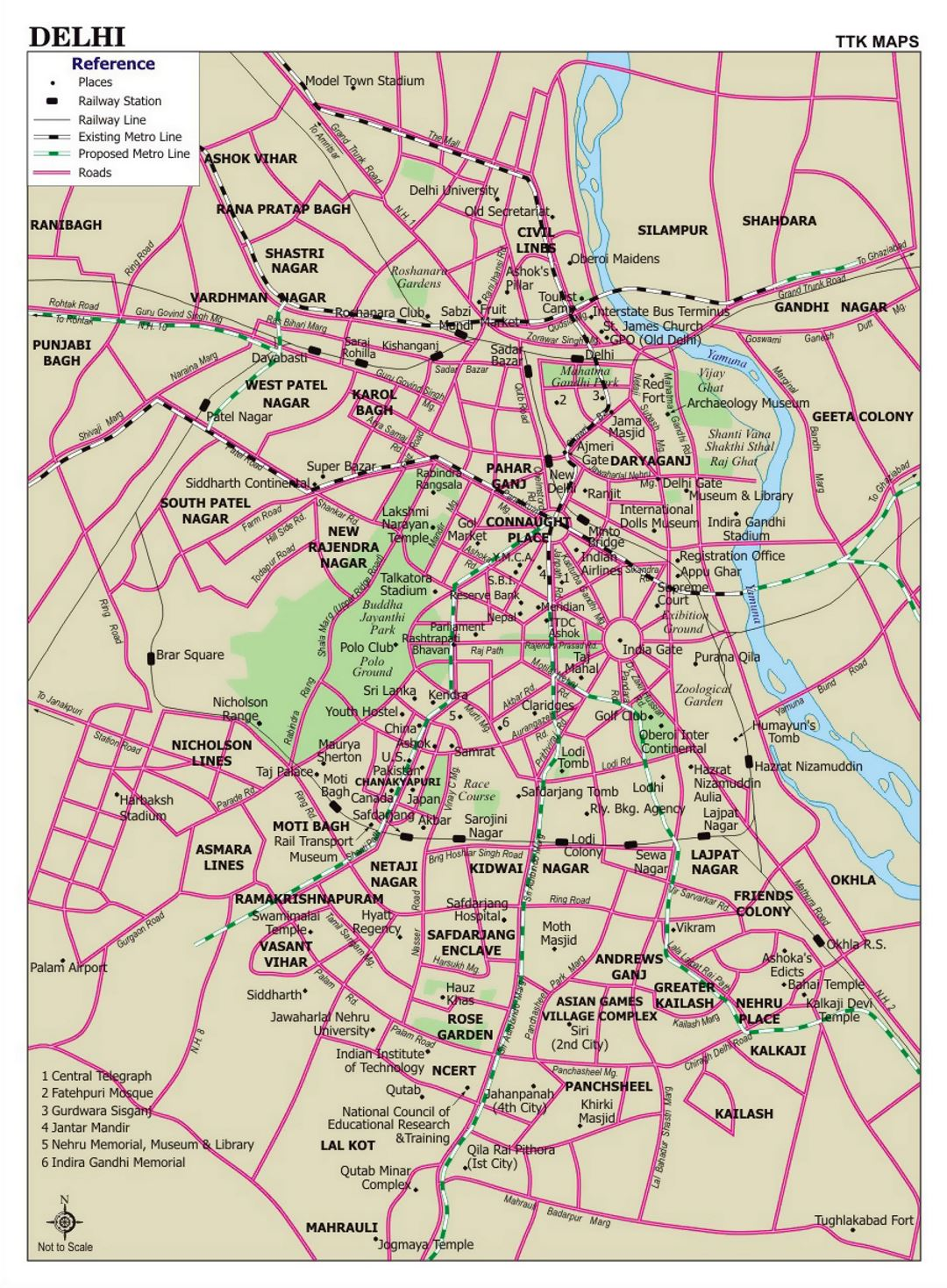 Detailed road map of Delhi city