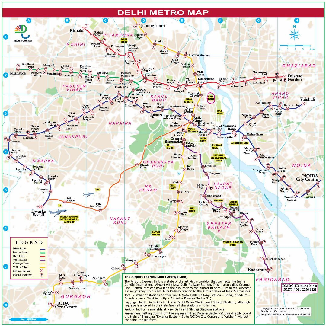 Large detailed metro map of Delhi city
