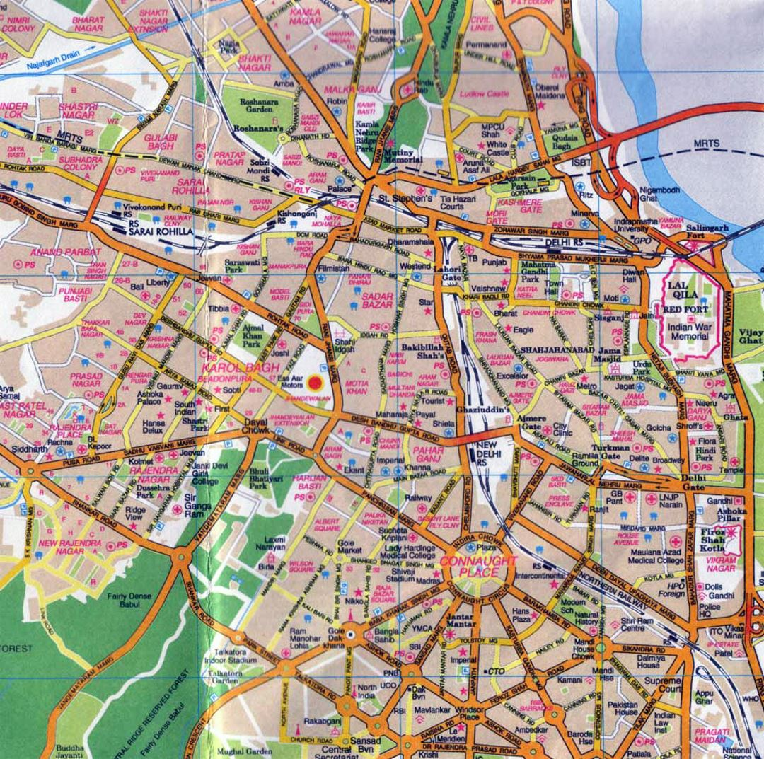 Road map of central part of Delhi city