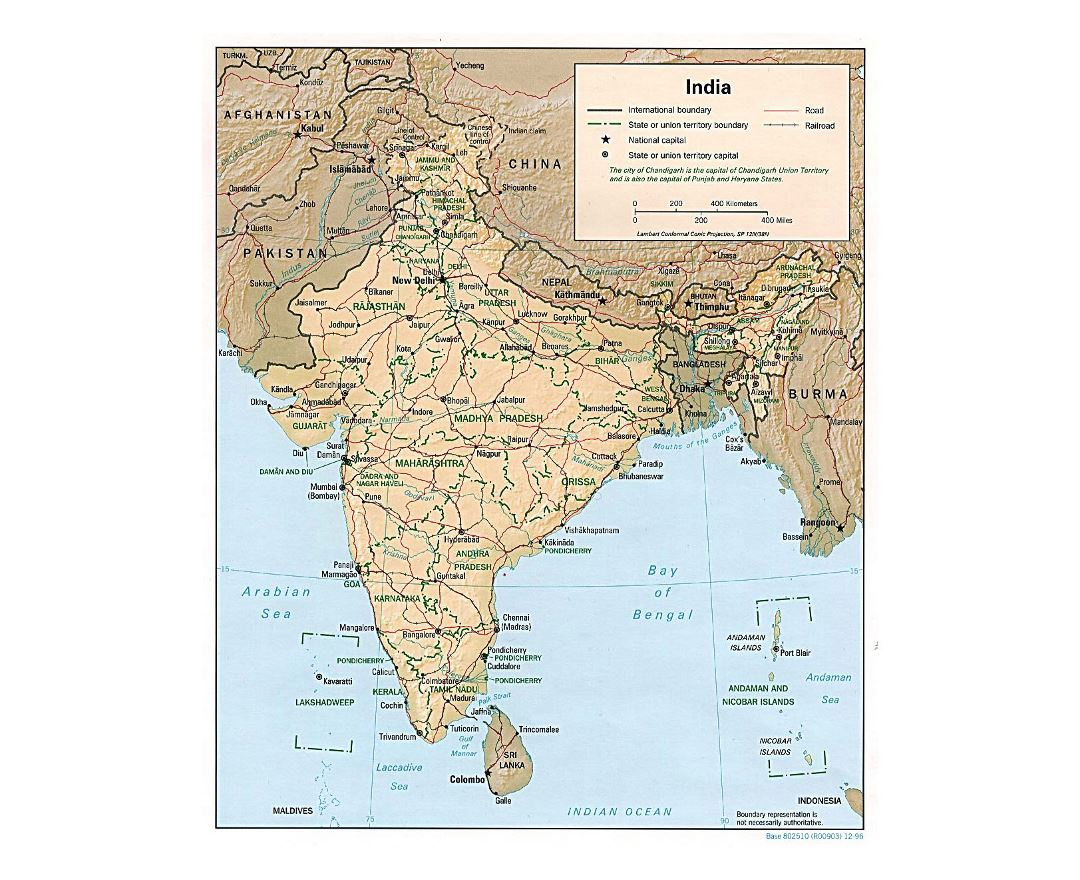 Detailed political and administrative map of India with relief, roads, railroads and cities - 1996