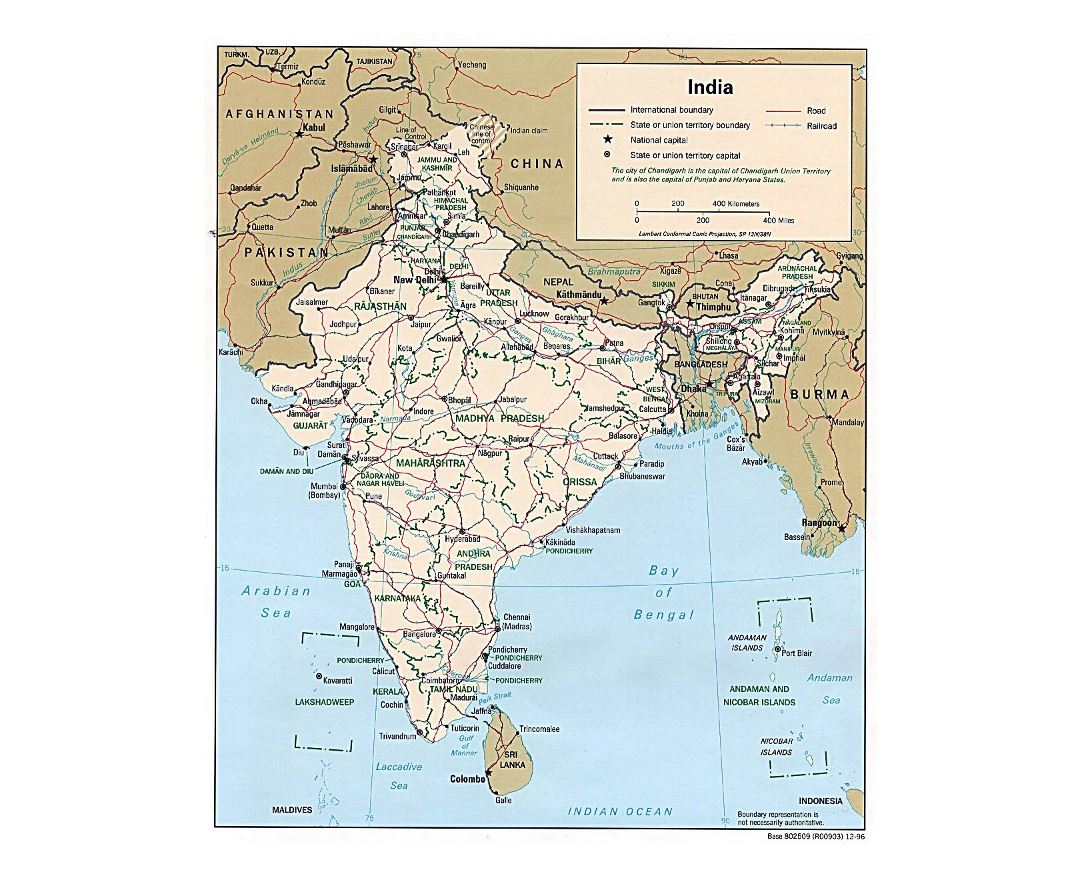 Detailed political and administrative map of India with roads, railroads and cities - 1996