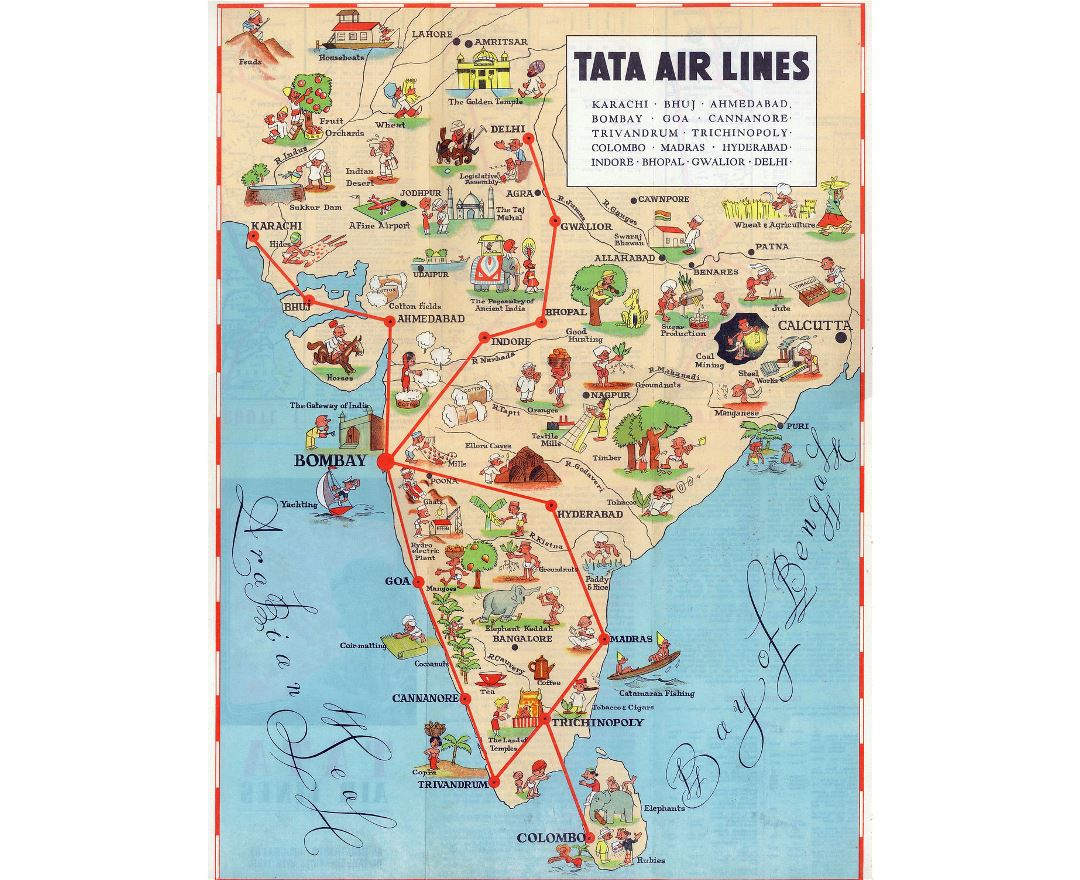 Detailed tourist illustrated map of India