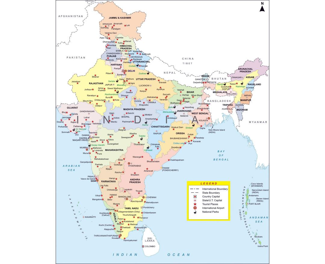 Large detailed administrative map of India with major cities