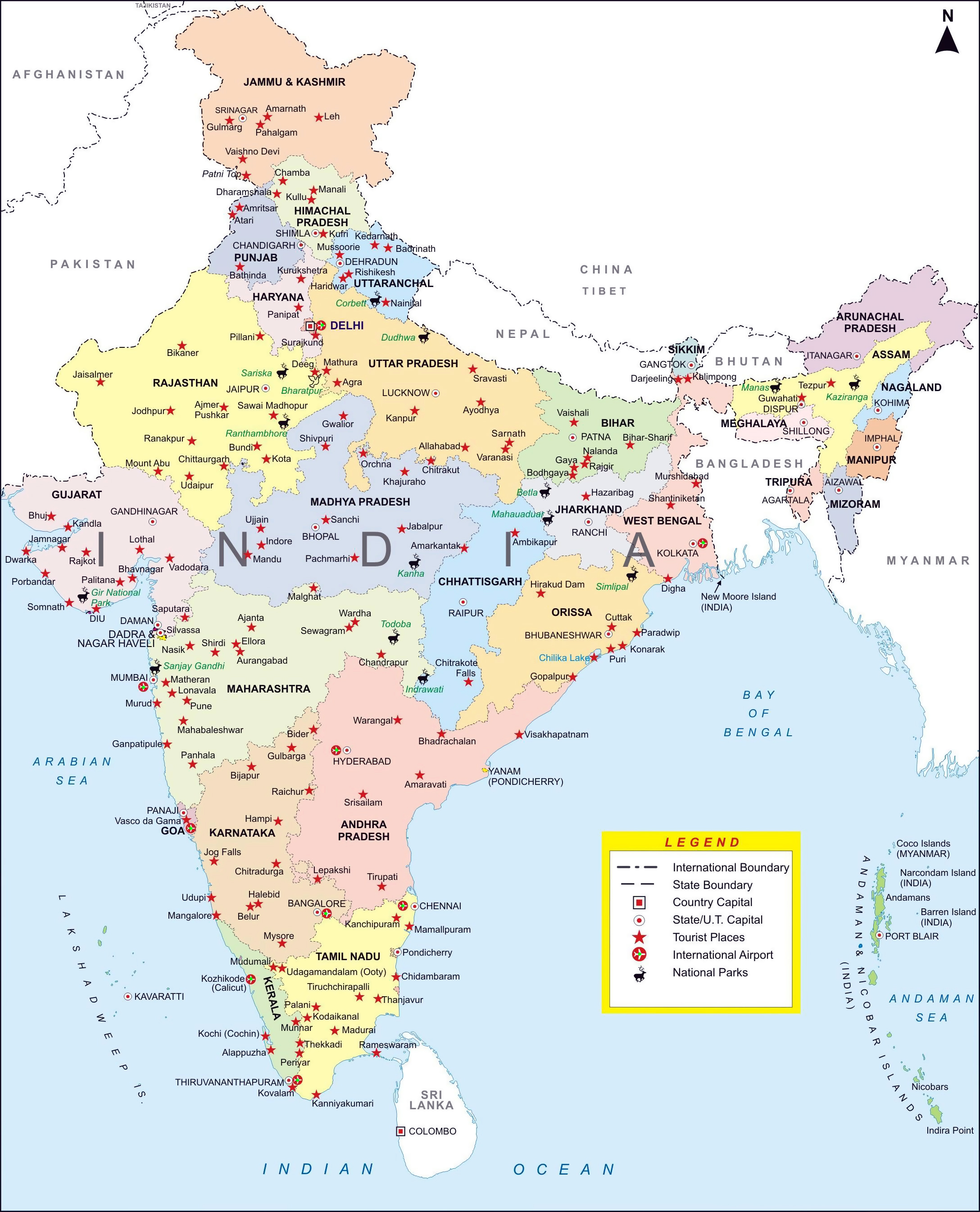 Large Detailed Administrative Map Of India With Major Cities - Georgia map with major cities