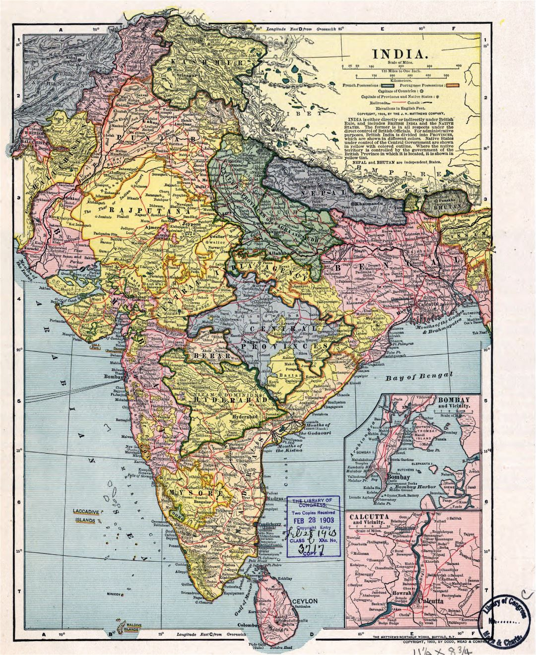 Large detailed old political and administrative map of India