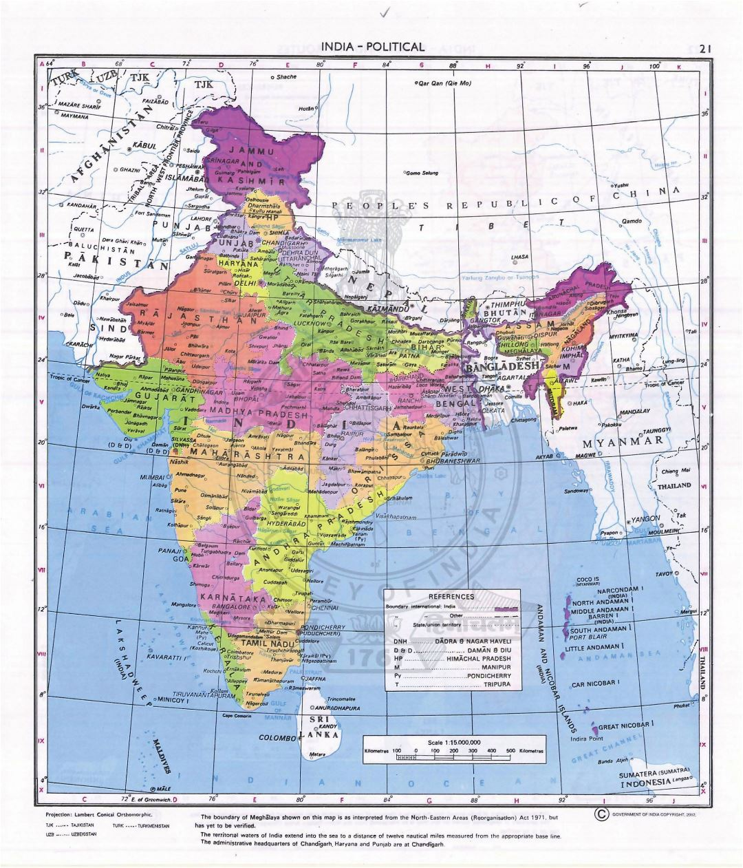 Large detailed political and administrative map of India