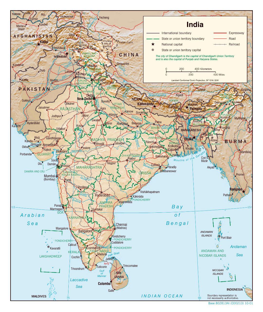 Large detailed political and administrative map of India with relief, roads, railroads and major cities - 2001