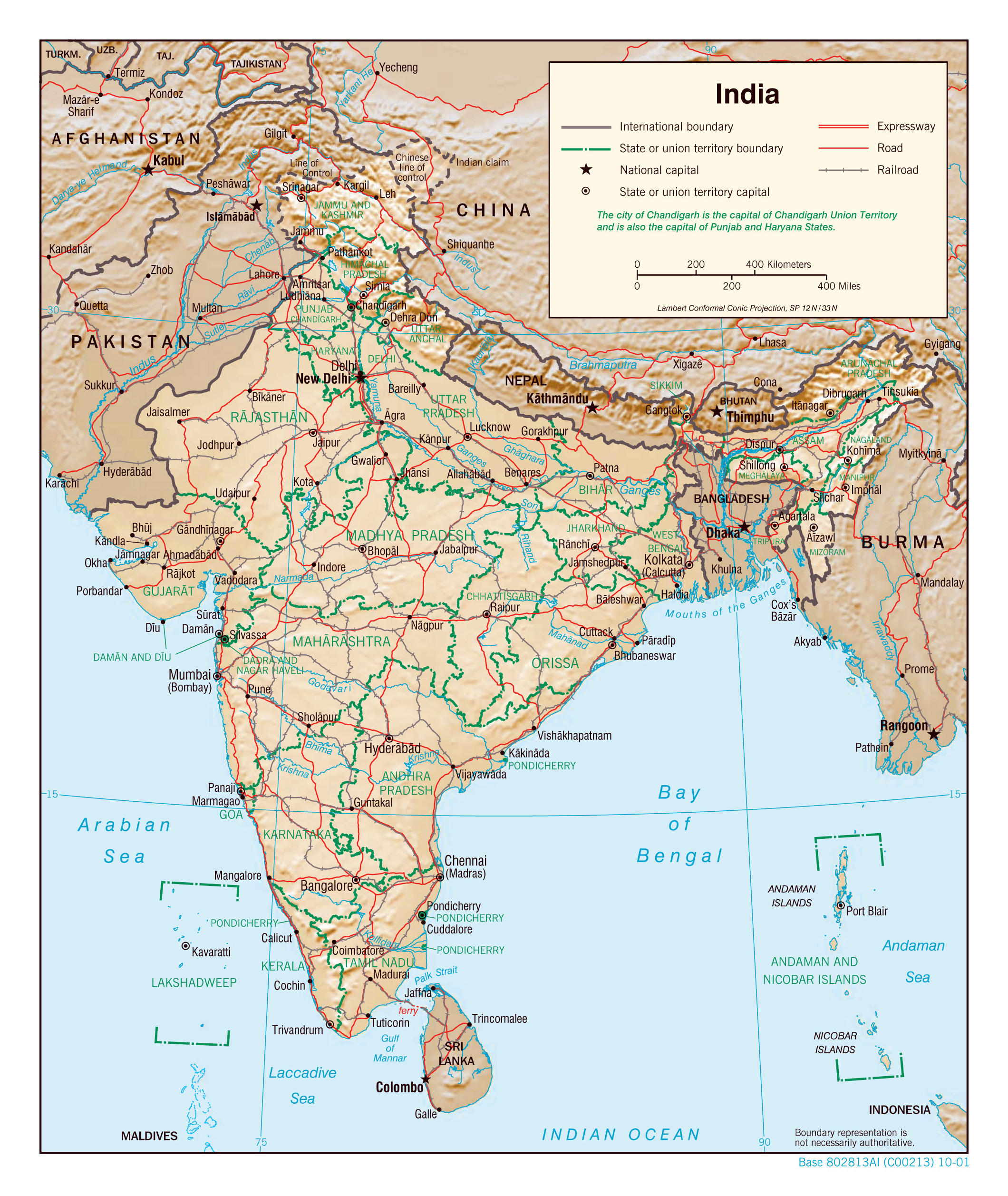 Large Detailed Political And Administrative Map Of India With Relief,  Roads, Railroads And Major