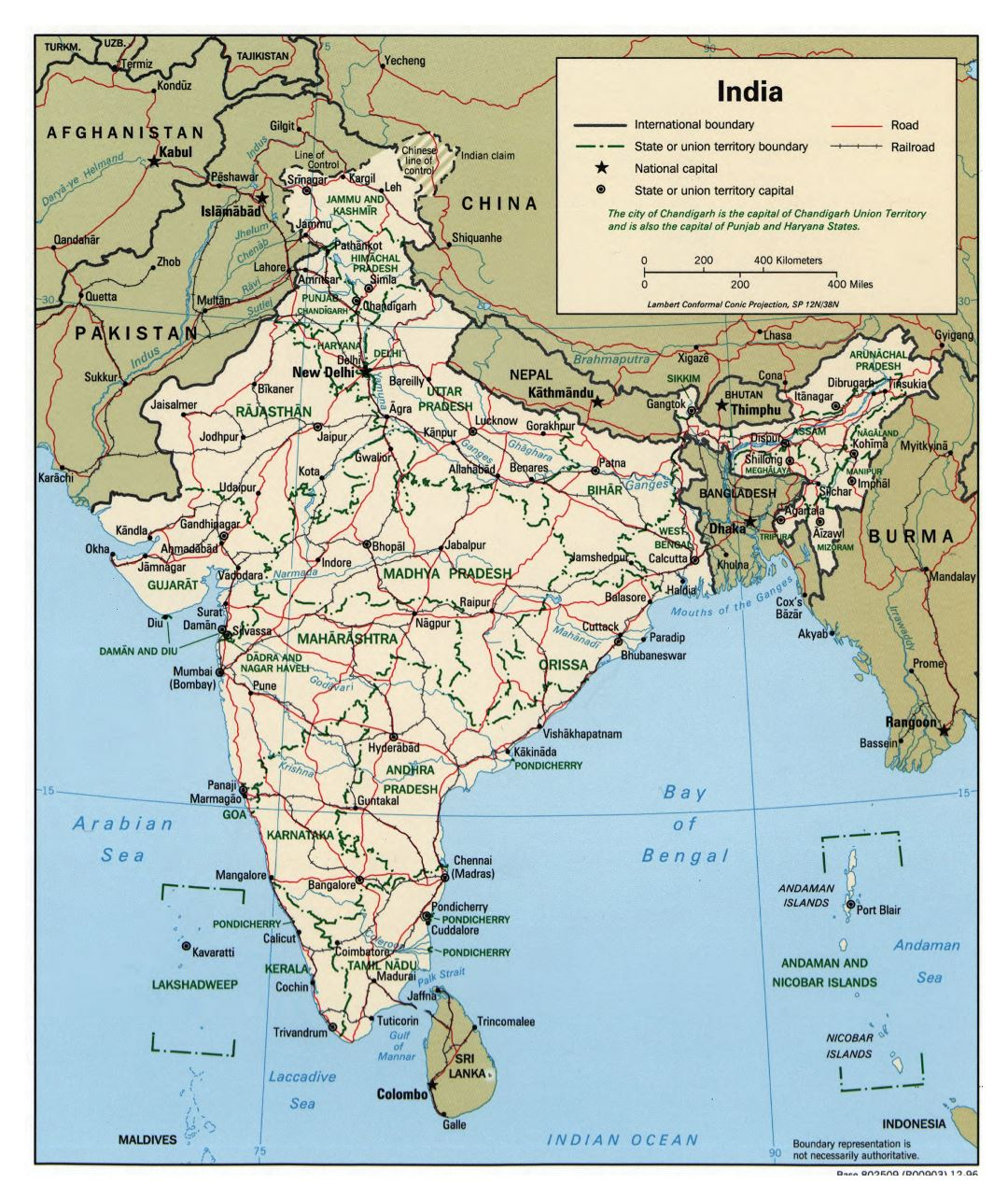 Large detailed political and administrative map of India with roads, railroads and cities - 1996