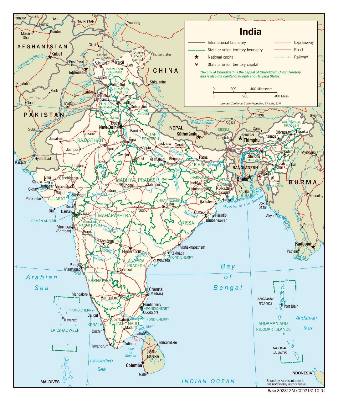 Large detailed political and administrative map of India with roads, railroads and major cities - 2001