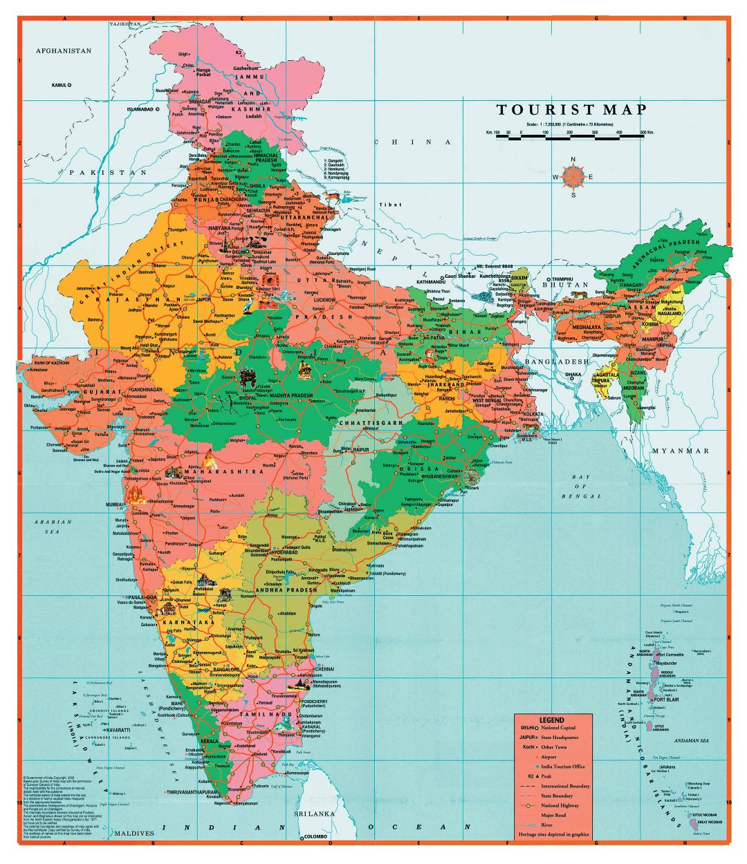 Large detailed tourist map of India