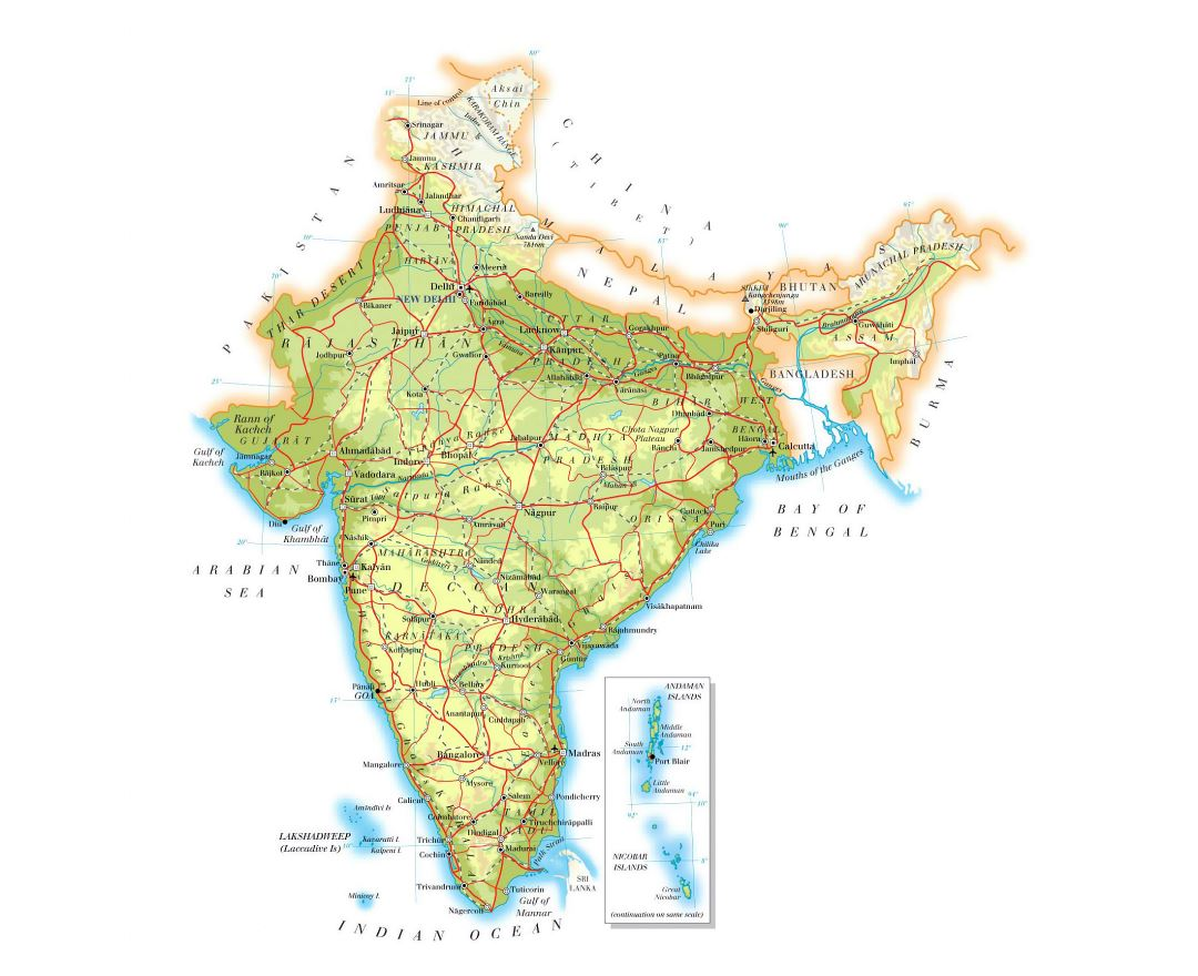 Large elevation map of India with roads, cities and airports