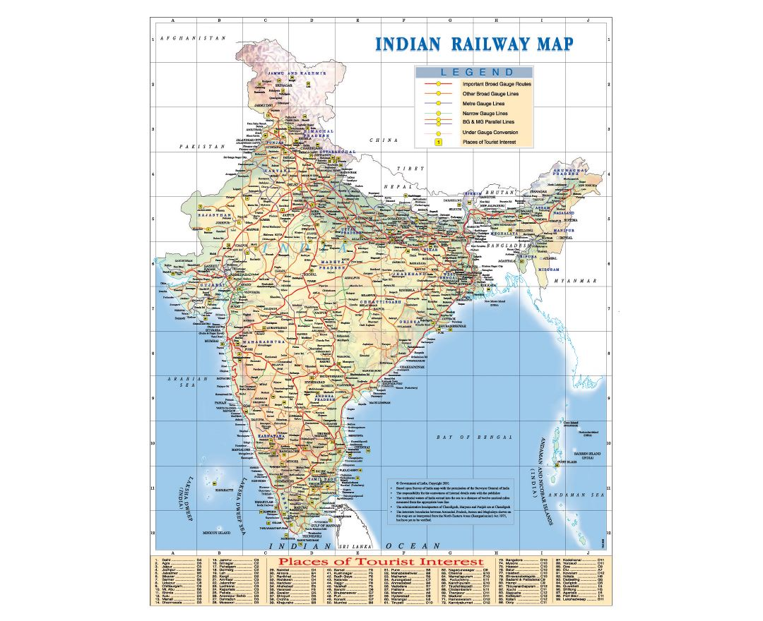 Large Indian railway map