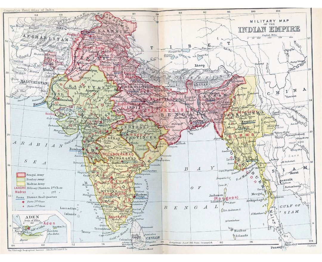 Large old political and administrative map of India - 1893