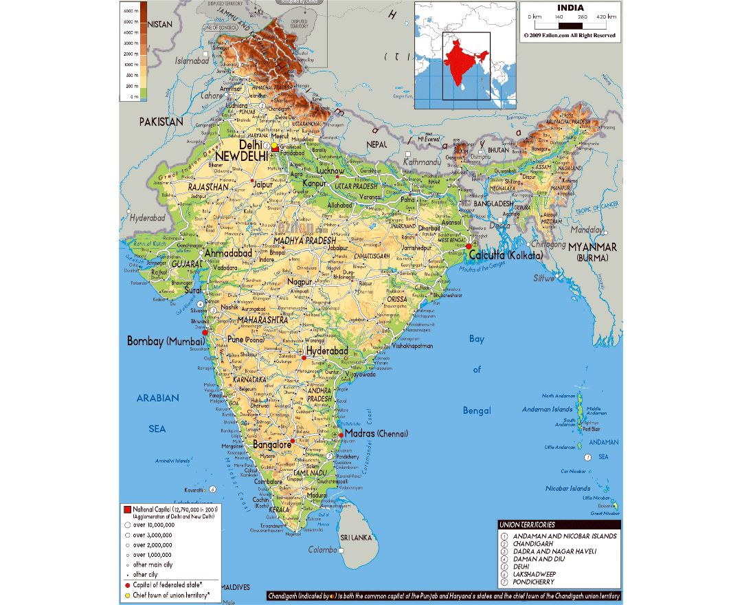 Large physical map of India with roads, cities and airports