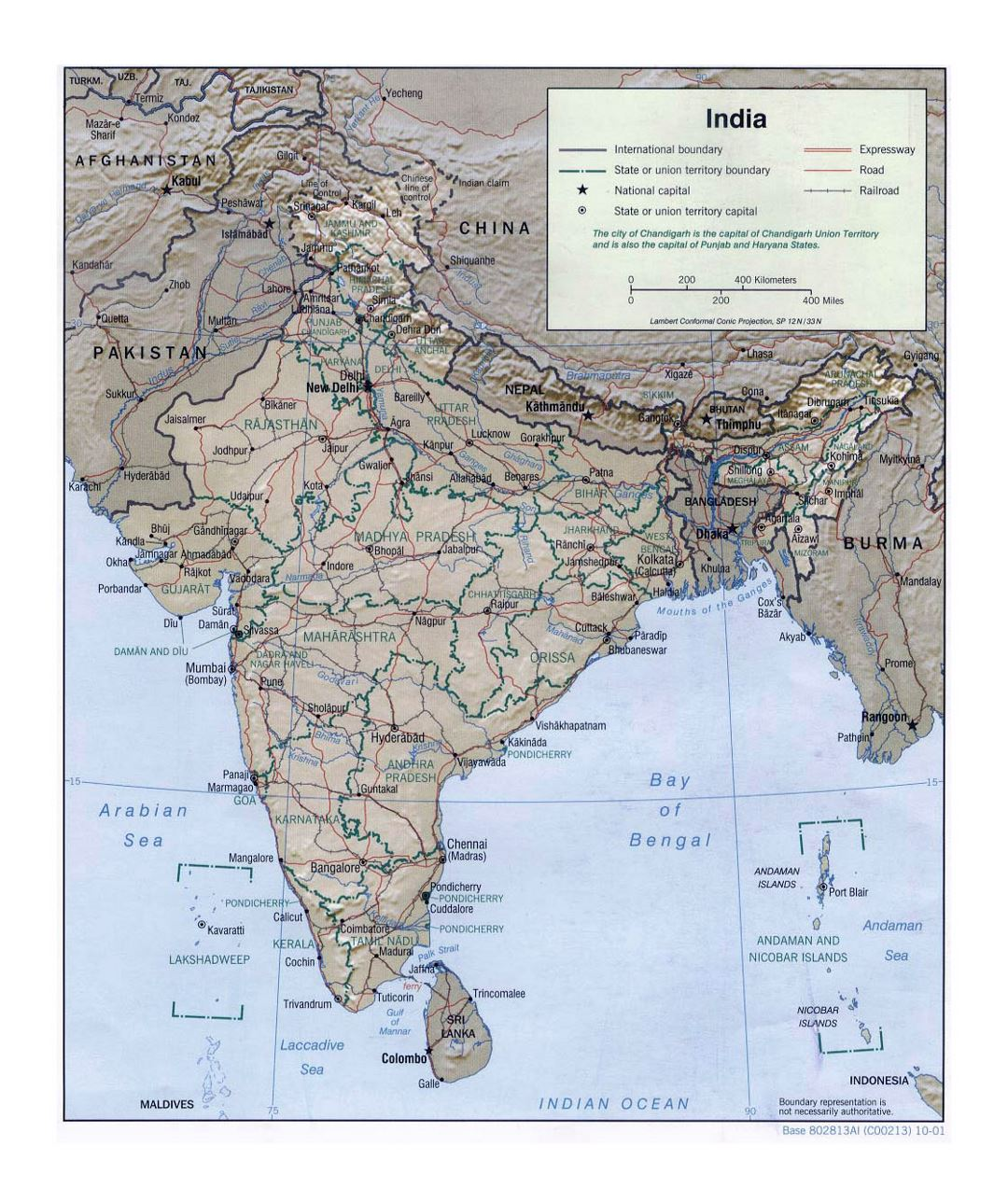 Large political and administrative map of India with relief, roads, railroads and major cities - 2001