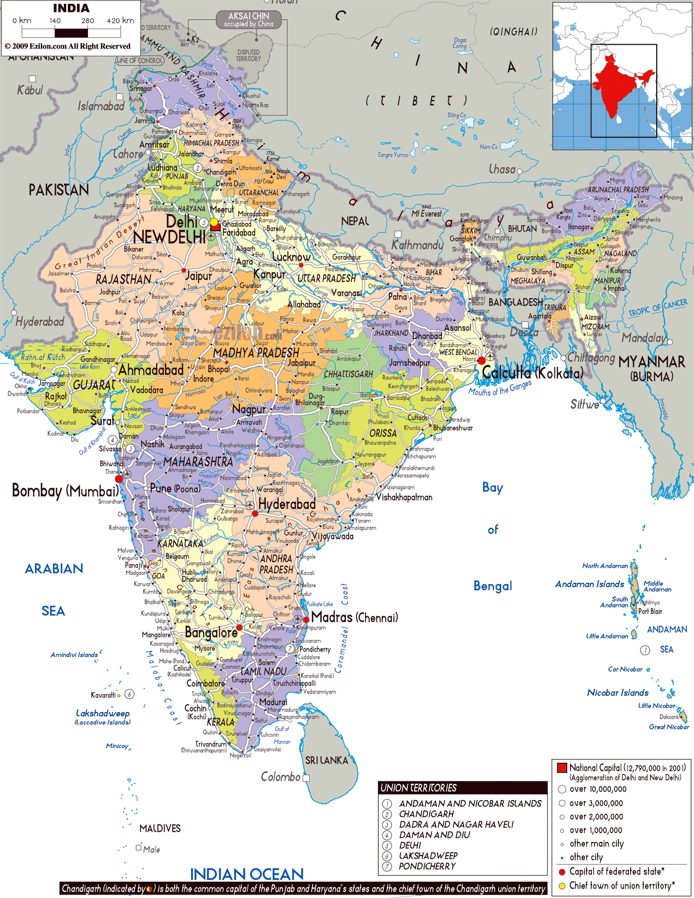 Large political and administrative map of India with roads cities