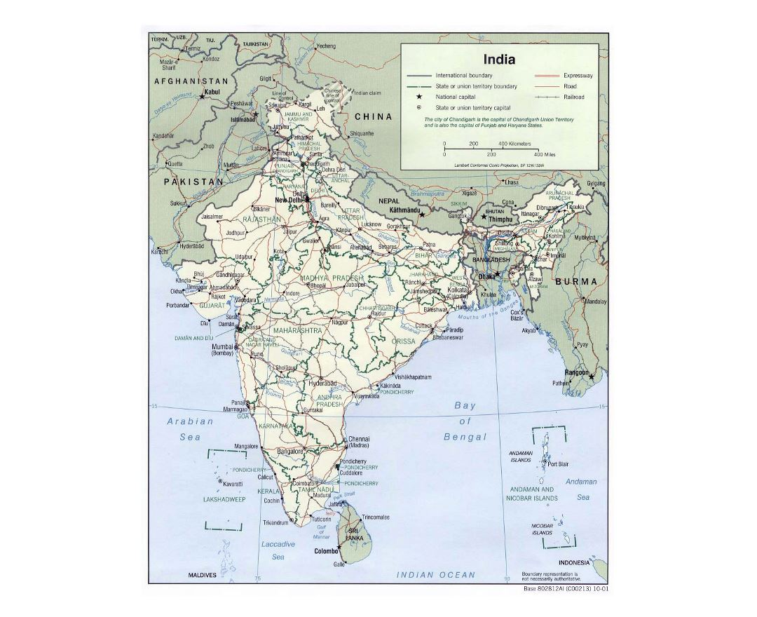 Large political and administrative map of India with roads, railroads and major cities - 2001
