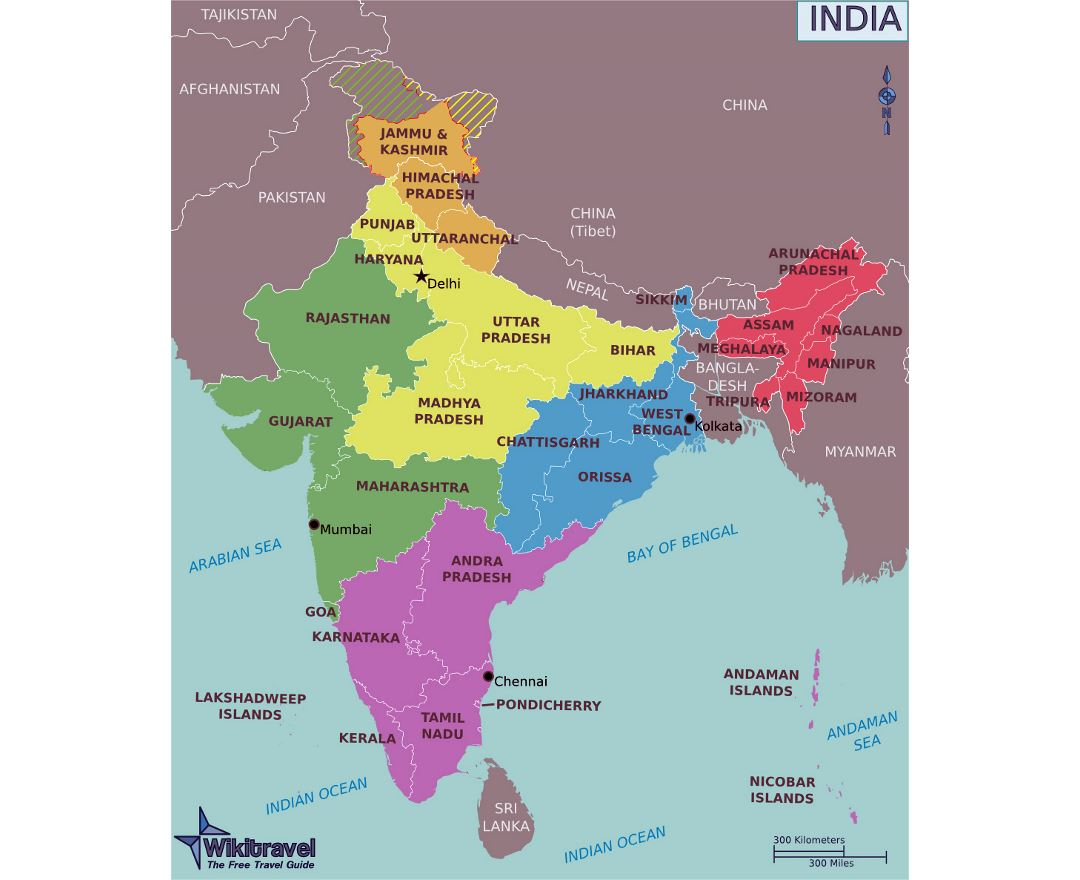 Large regions map of India